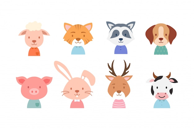 Coleção de rosto animal bonito