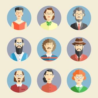 Coleção de rostos coloridos em estilo simples, retratando as cabeças e os ombros de diversos homens e mulheres de frente para o observador em quadros azuis redondos.