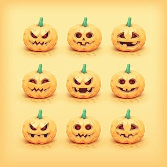 Coleção de rostos de abóbora de halloween esculpida. ilustração
