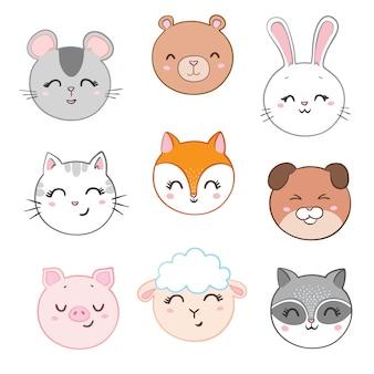 Coleção de rostos de animais