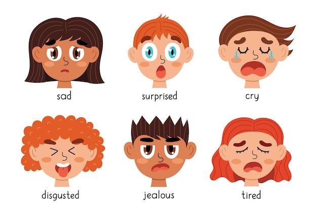 Coleção de rostos de emoções para crianças pacote de diferentes expressões emocionais