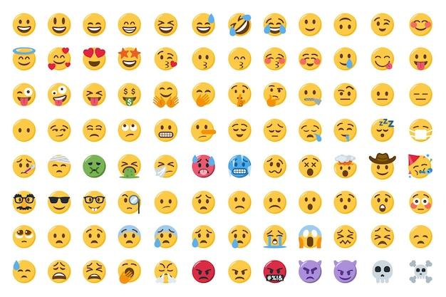 Coleção de rostos de emoji sorridentes ou conjunto de emoticons sorridentes fofos