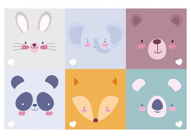 Coleção de rostos de personagens de animais fofos dos desenhos animados