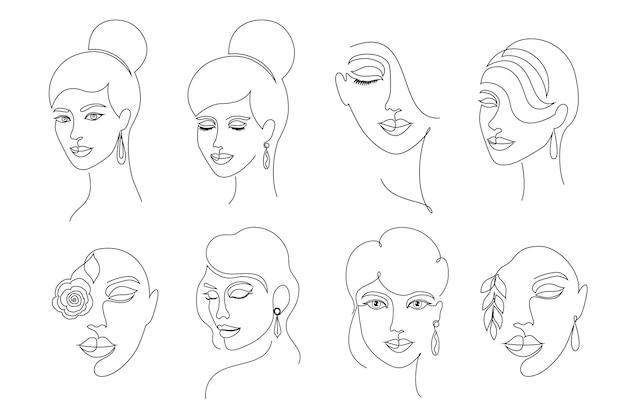 Coleção de rostos femininos em estilo de desenho de linha em fundo branco