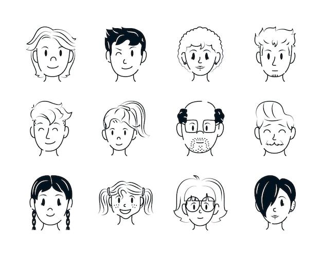 Coleção de rostos masculinos e femininos