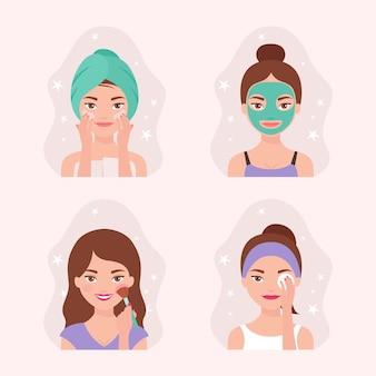 Coleção de rotina de cuidados com a pele das mulheres