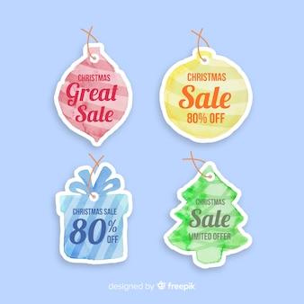 Coleção de rótulo aquarela de venda de natal