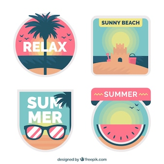 Coleção de rótulo bonito de verão em design plano