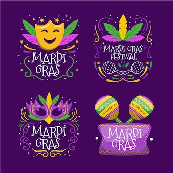 Coleção de rótulo colorido de carnaval