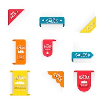 Coleção de rótulo colorido de vendas