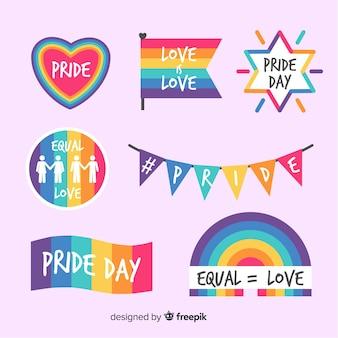 Coleção de rótulo colorido dia do orgulho