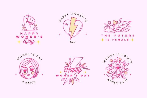 Coleção de rótulo / crachá de mão desenhada dia das mulheres