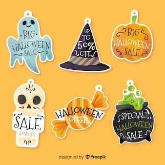 Coleção de rótulo-crachá de venda de halloween