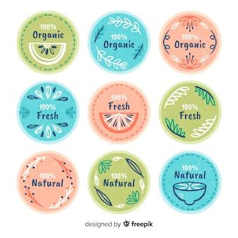 Coleção de rótulo de alimentos orgânicos de cor pastel