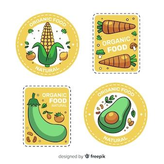 Coleção de rótulo de alimentos orgânicos