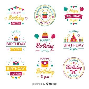 Coleção de rótulo de aniversário plana