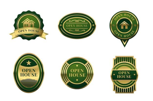 Coleção de rótulo de casa aberta