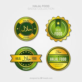 Coleção de rótulo de comida halal com estilo dourado