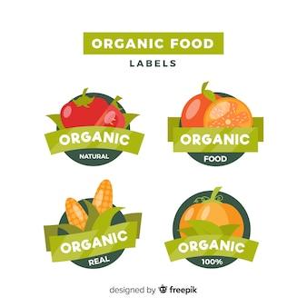 Coleção de rótulo de comida orgânica plana