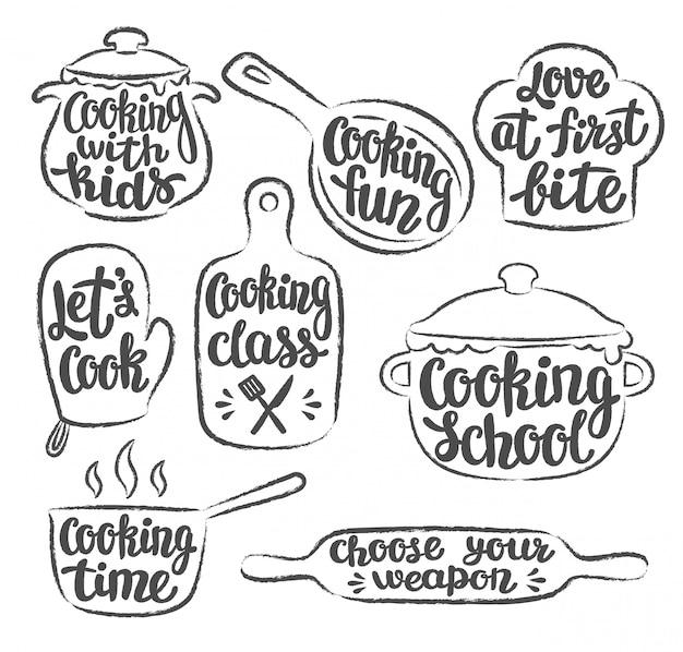 Coleção de rótulo de cozinha com contornos grunge