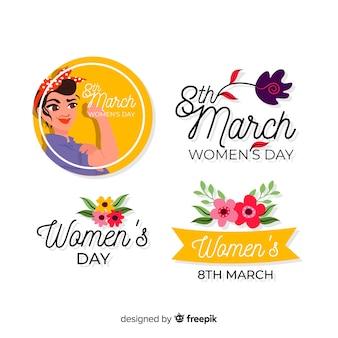 Coleção de rótulo de dia da mulher