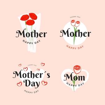 Coleção de rótulo de dia das mães desenhadas à mão