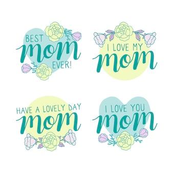 Coleção de rótulo de dia das mães desenhar conceito