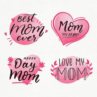 Coleção de rótulo de dia das mães em aquarela