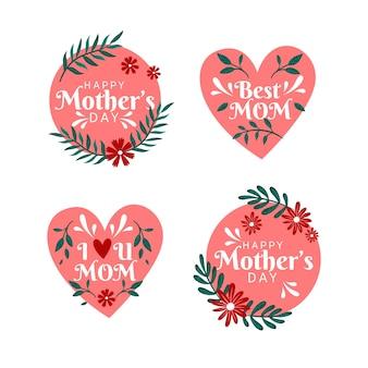 Coleção de rótulo de dia das mães em design plano