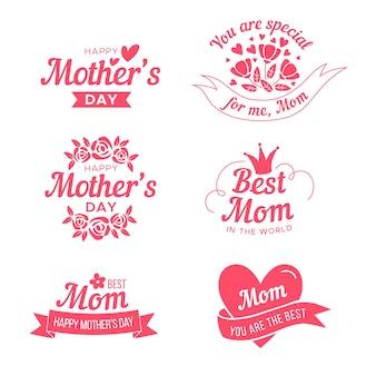 Coleção de rótulo de dia das mães plana