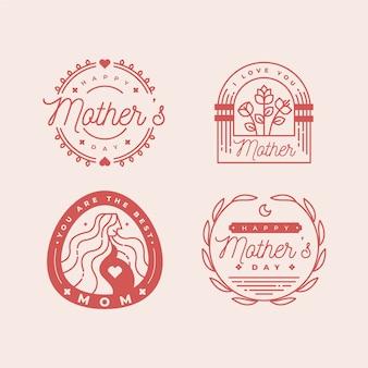 Coleção de rótulo de dia das mães