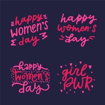 Coleção de rótulo de dia das mulheres com letras