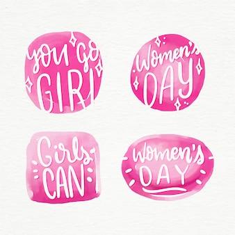 Coleção de rótulo de dia das mulheres de letras