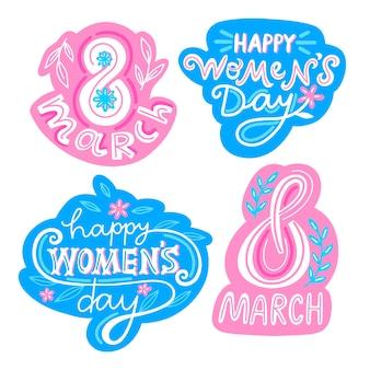 Coleção de rótulo de dia das mulheres desenhadas à mão