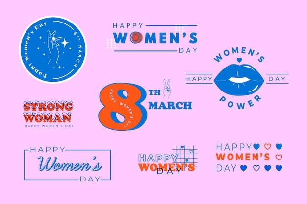 Coleção de rótulo de dia das mulheres em design plano
