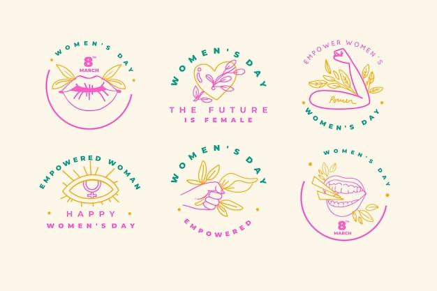 Coleção de rótulo de dia das mulheres mão desenhada