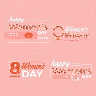 Coleção de rótulo de dia das mulheres plana