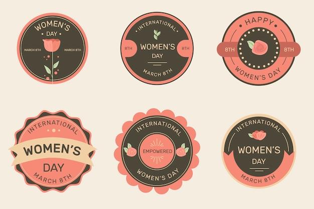 Coleção de rótulo de dia das mulheres vintage