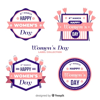 Coleção de rótulo de dia das mulheres