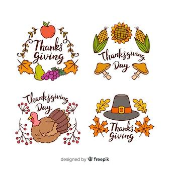 Coleção de rótulo de dia de ação de graças na mão desenhada estilo