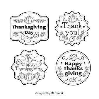 Coleção de rótulo de dia de ação de graças