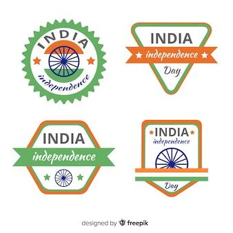 Coleção de rótulo de dia de independência de india plana