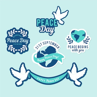 Coleção de rótulo de dia de paz pombo