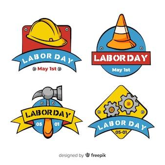 Coleção de rótulo de dia de trabalho plana eua
