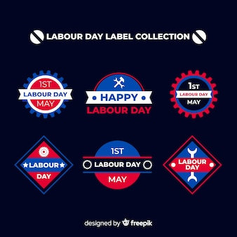 Coleção de rótulo de dia de trabalho plana
