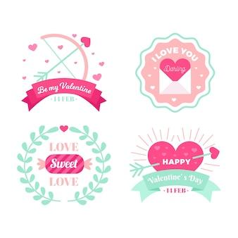 Coleção de rótulo de dia dos namorados em design plano