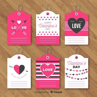 Coleção de rótulo de dia dos namorados
