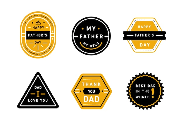 Coleção de rótulo de dia dos pais de design plano