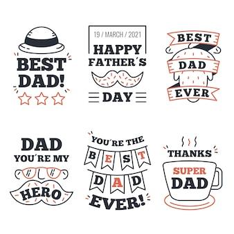 Coleção de rótulo de dia dos pais desenhada