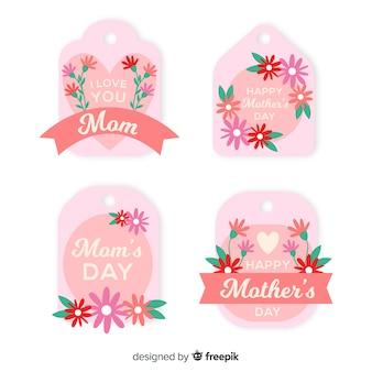 Coleção de rótulo de dia plana da mãe